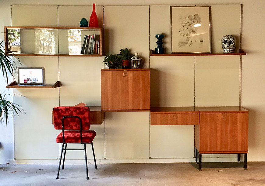 Louis Paolozzi, meubles Monopoly, René Godfrid, panneaux mureaux, meuble à éléments