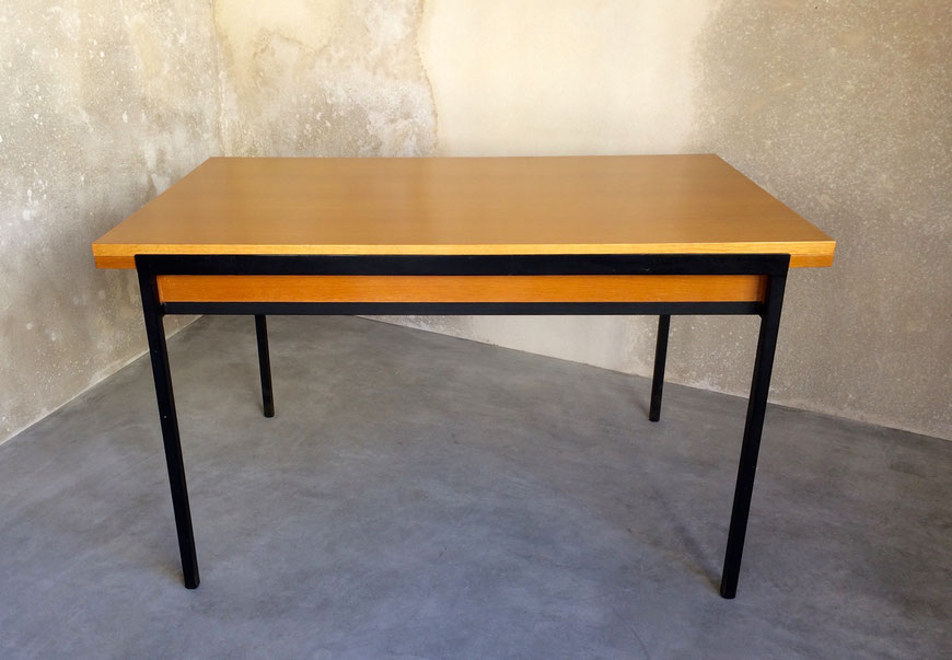 JOLI, table René-Jean Caillette, moderniste, Groupe 4 Charron, table en chène, table à rallonges