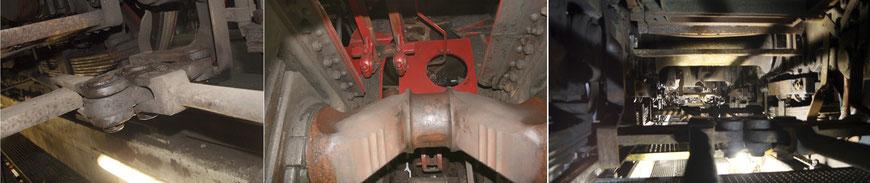 (Von links): Bolzen des Bremsgestänges, der Blick an der Kropfachsen vorbei durch die runde Öffnung fällt auf eines der aufgearbeiteten Gestras , und unter dem Aschkasten ein Blick nach vorne,