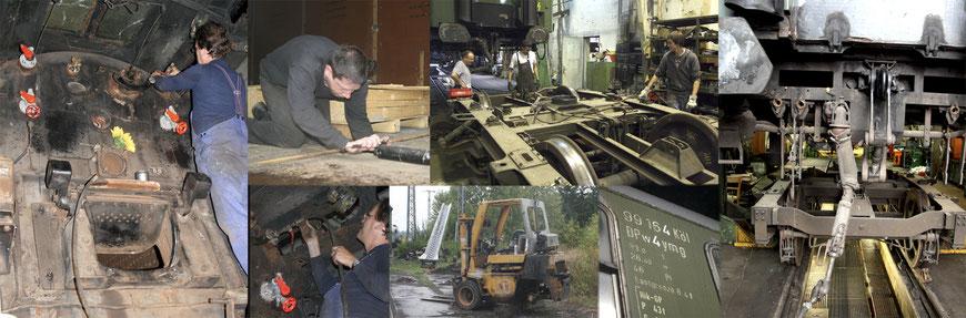 Die Bilder im Uhrzeigesinn: Auf dem Führerstand der 44 1378, Fortgang der HU an einem Güterwagen, Bilder von der HU an einem yl-Wagen, Reparatur am Stapler und  wieder die 44 1378.
