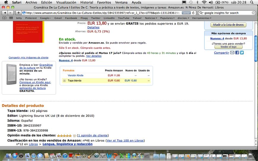 Puesto 46 del ranking total en Amazon España. ¡Gracias!