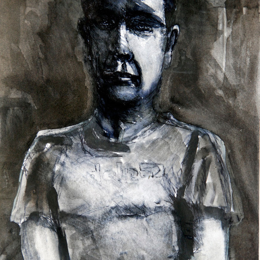 Self-portrait with t-shirt 2008 (Ink) (24x18)
