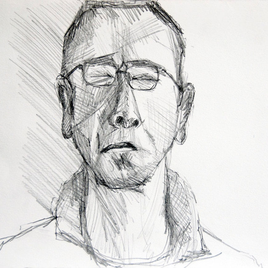 Self-portrait with eyes closed 2008 (Pencil) (21x30)