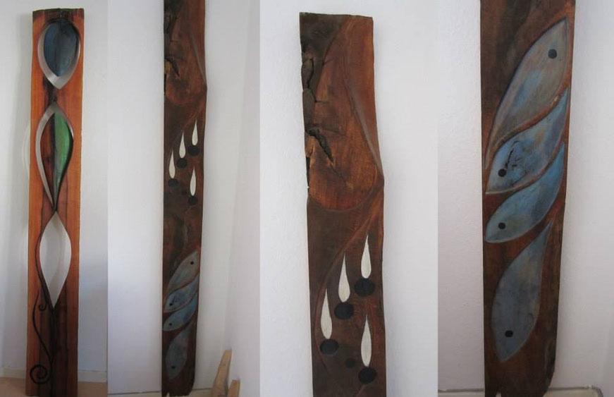 Nussbaumskulptur mit Acryl