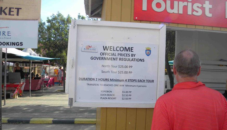 Touristeninformation mit Preistafel