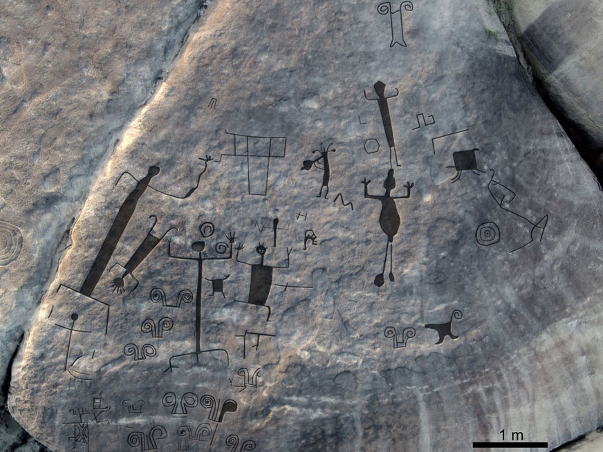 Aerial view of rock art panel found in Venezuela