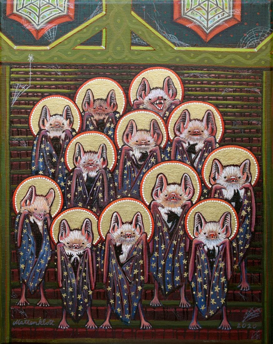 "Anja Mattenklott: ""Mausohrmadonnen"", 24 cm x 30 cm, Gouache, Pigmente auf Leinwand, 2020"