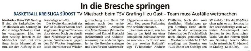 Artikel im Miesbacher Merkur am 9.11.2019 - Zum Vergrößern klicken