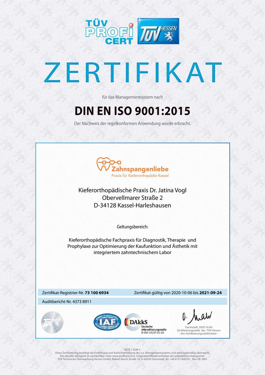 TÜV Zertifikat - Zahnspangenliebe
