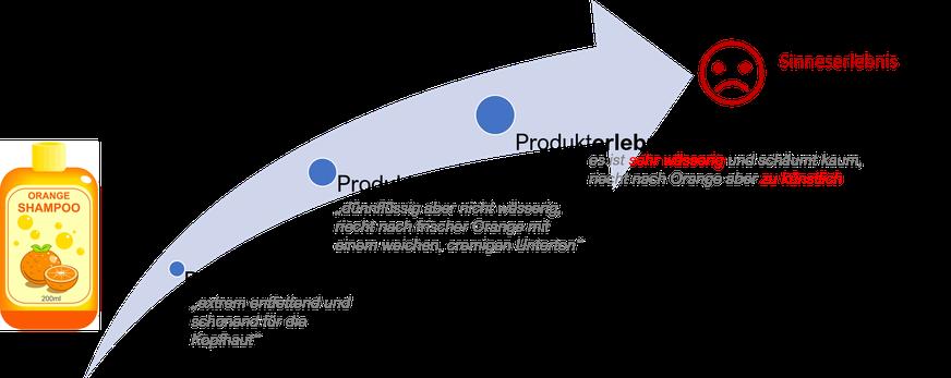 Dissonanzen zwischen Produktversprechen, -erwartung und -erlebnis. Führt zur Verbracuherenttäuschung! Eine Misachtung des Sensory Brandings.