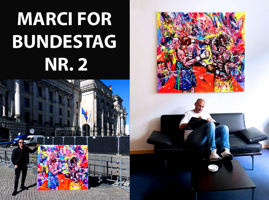 2. WORK IN THE BUNDESTAG 2020!  // A BIG THANK YOU TO DANYAL BAYAZ! // POWER, 2018, mixed media on canvas, 170x150cm