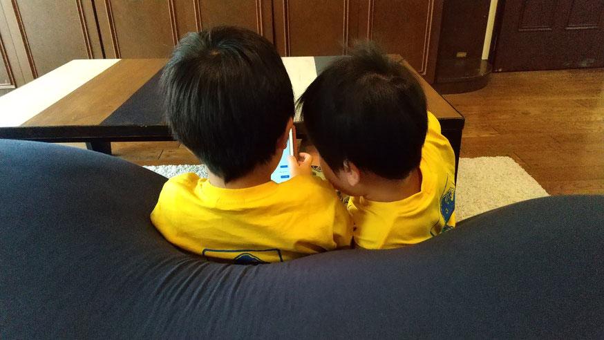 仲良く座る兄弟の写真