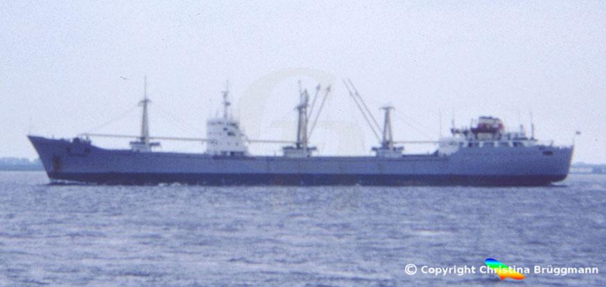 Chinesischer Stückgutfrachter CHENG SHAN, Elbe 1983
