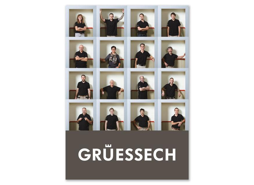 Grusskarte für Schreiner Koenig mit neuen Team-Portraits von Alain Bucher.