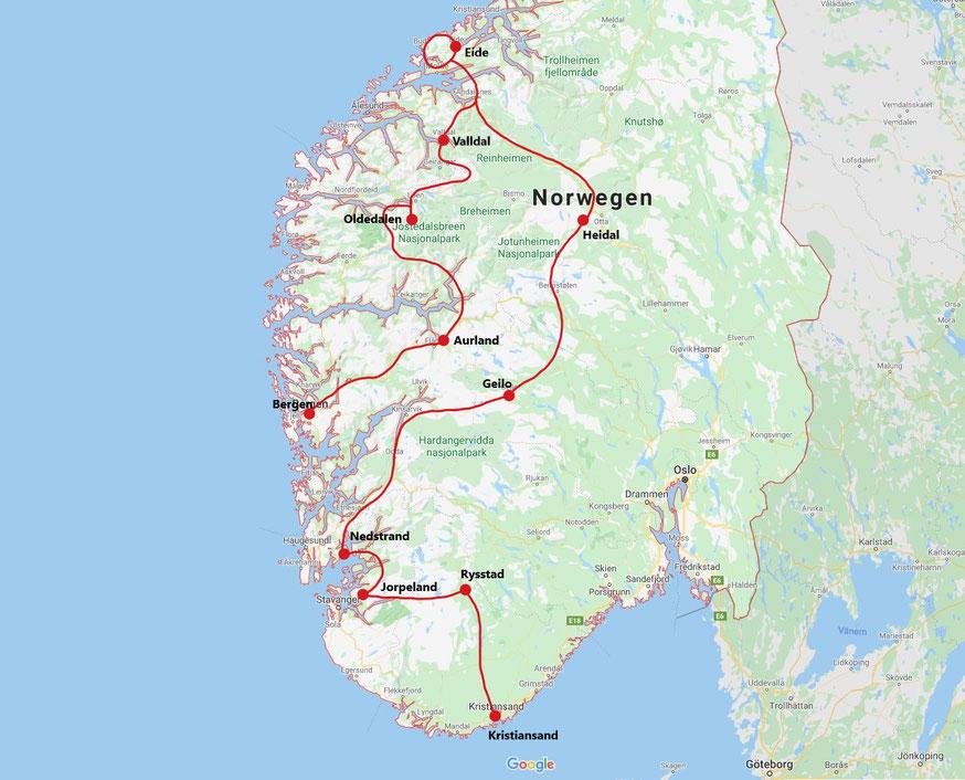 Roadtrip Norwegen 2 Wochen Route