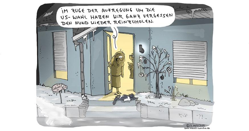 Tagesaktueller Cartoon von H. Mercker zur US-Wahl 2016