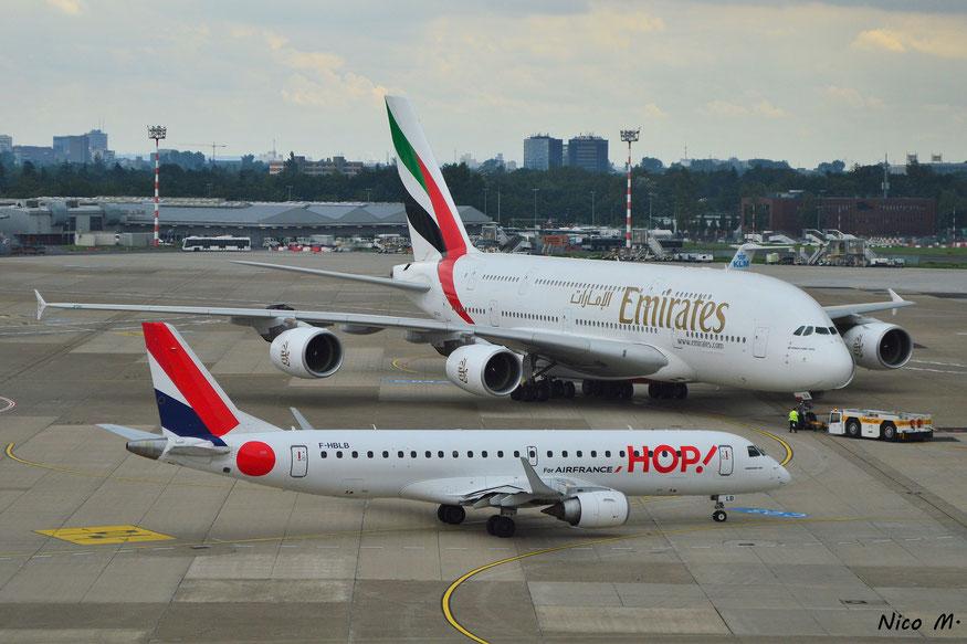 E190 (F-HBLB), A380-800 (A6-EOA)
