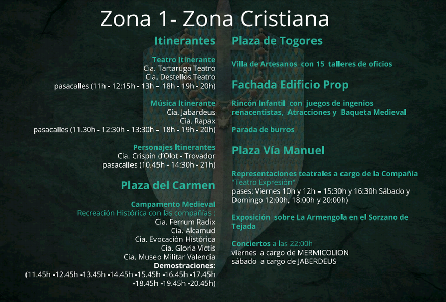 Programa de actividades del Mercado Medieval de Orihuela