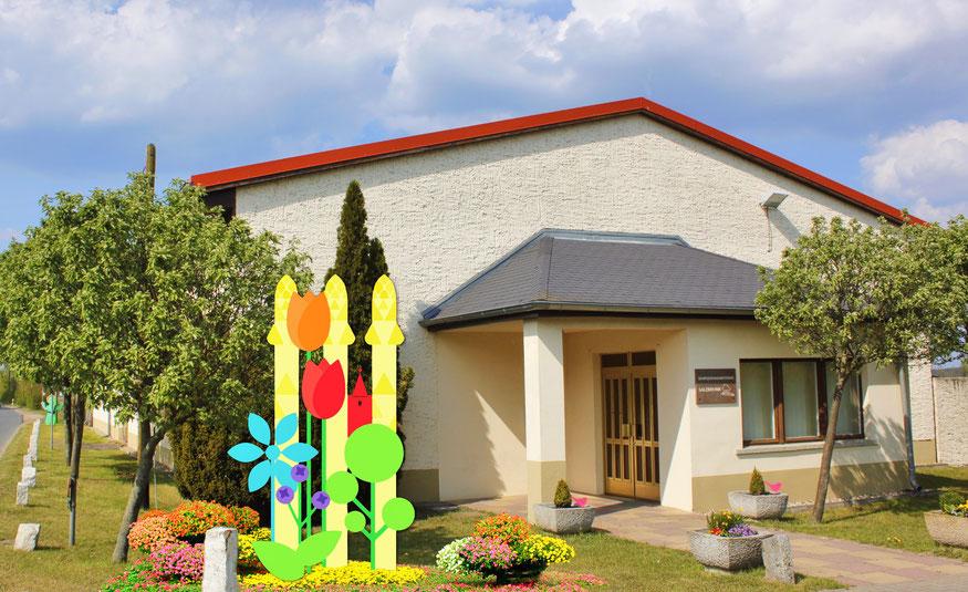 Landesgartenschau-Signet, eine Kombination aus Spargel, Kirchturmspitze und Blumen