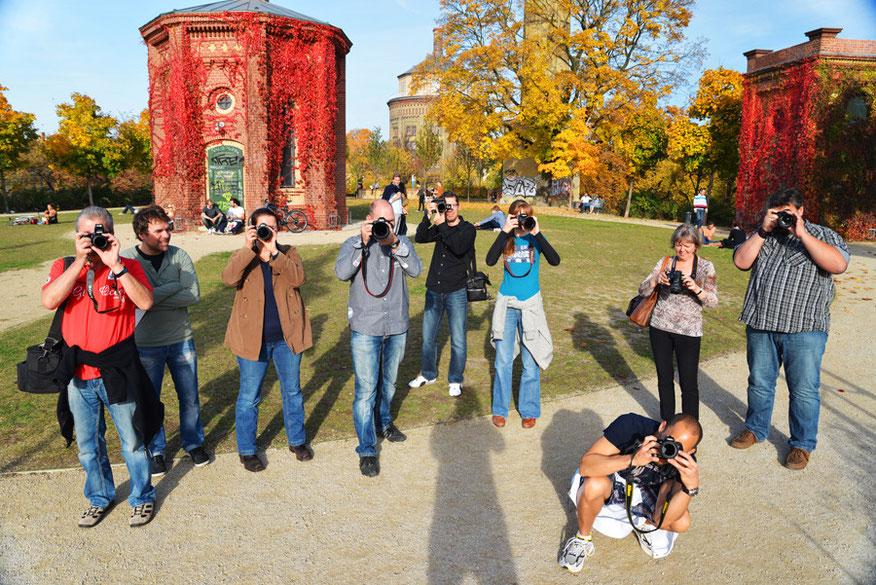 Fortgeschrittenen Fotokurs Teilnehmer Gruppe