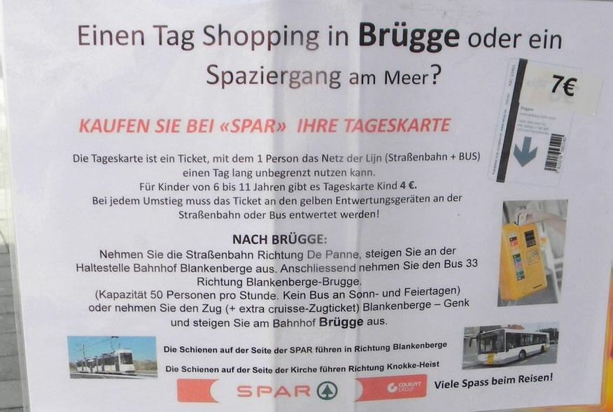 """Tageskarte im Vorverkauf beim Spar-Markt bei der Haltestelle Zeebrügge """"Kerk"""""""