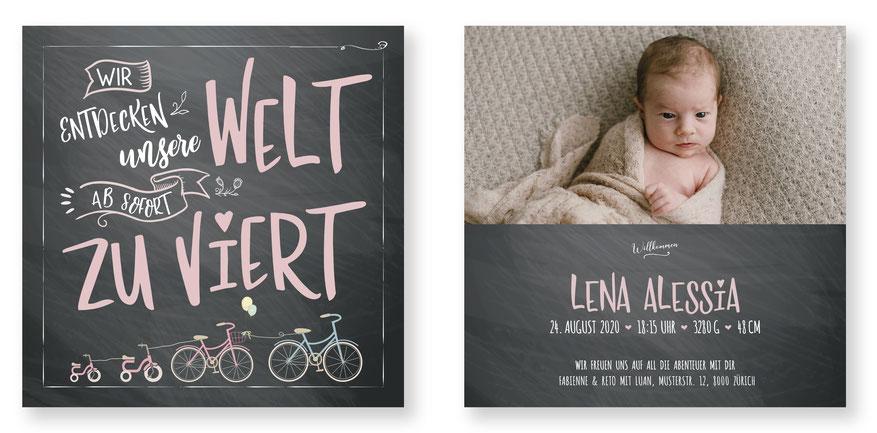 Geburtskarte Geburtsanzeige Kartendings zu viert Letter