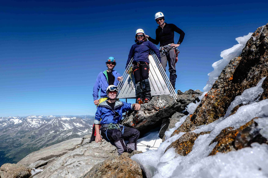 On Top of the 'Dreiherrenspitz'. The first top of our one week trip along the highest points of Austria (Markus, I (sitting), Lydia, Christian; from left to right)
