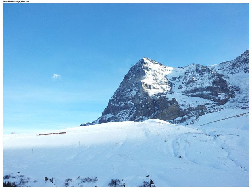 Quer durch diesen Berg fährt die Jungfraujochbahn.