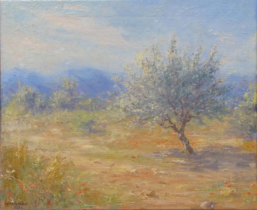Tony Wahlander (Wåhlander) Paysage de Provence, Tableau d'un olivier