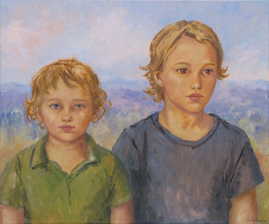 Tony Wahlander (Wåhlander) Tableau représentant deux garçons