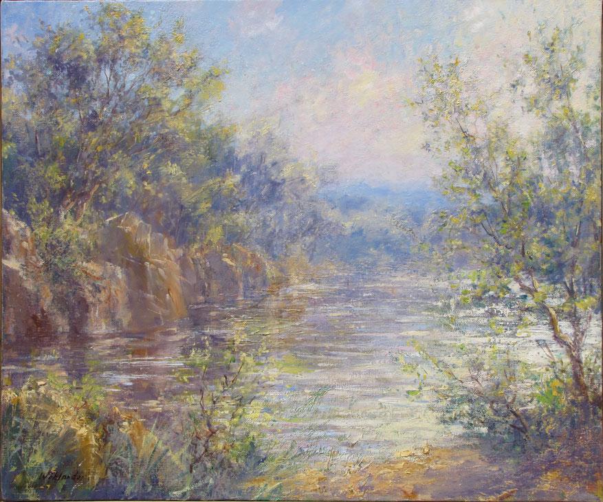 Tony Wahlander (Wåhlander) Paysage de Provence, Tableau d'un fleuve imaginaire