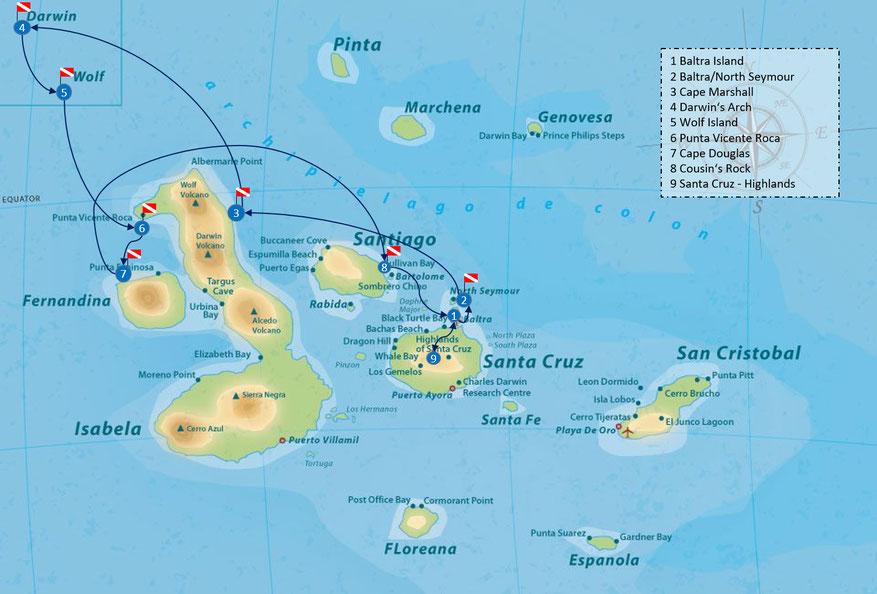 Galapagos Shark Diving itinerary