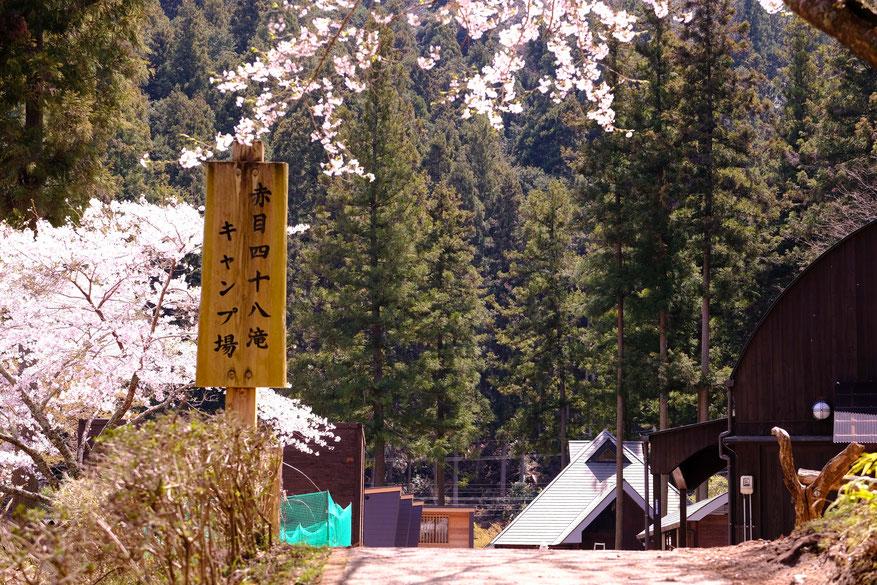赤目四十八滝キャンプ場の入り口。駐車場から橋を渡り、坂を登れば場内が。