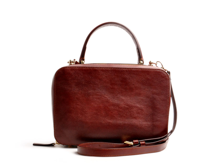Damen Ledertasche Retro Look VIRGINIE braun Handarbeit  OSTWALD Traditional Craft