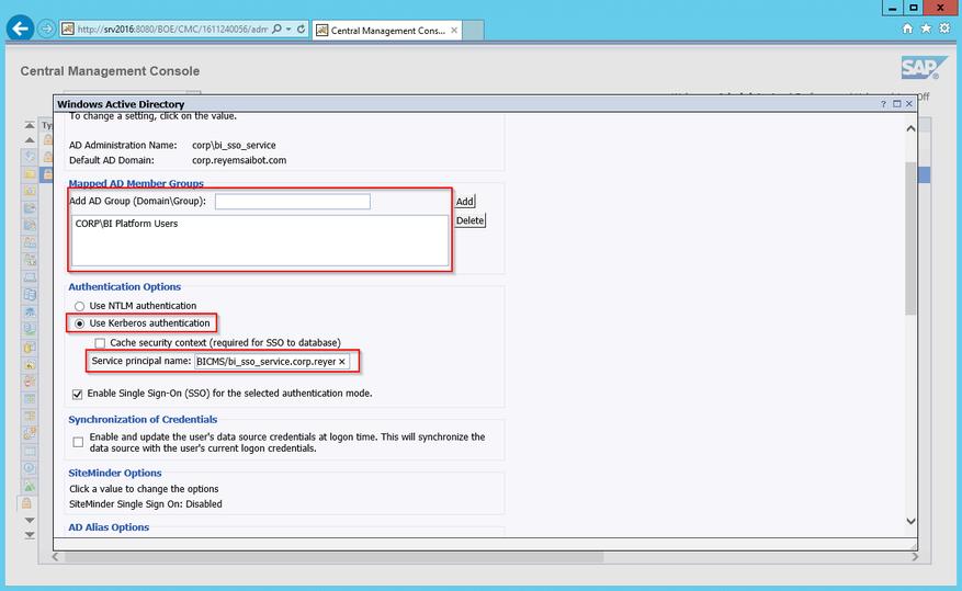 Central Management Console Authentication Options