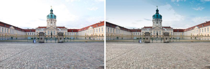 Schloss Charlotenburg im JPEG-Format unbearbeitet und bearbeitet