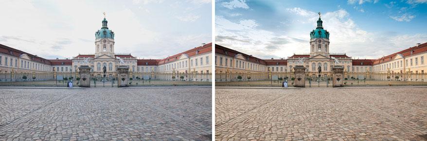 Schloss Charlaottenburg im RAW-Format unbearbeitet und bearbeitet