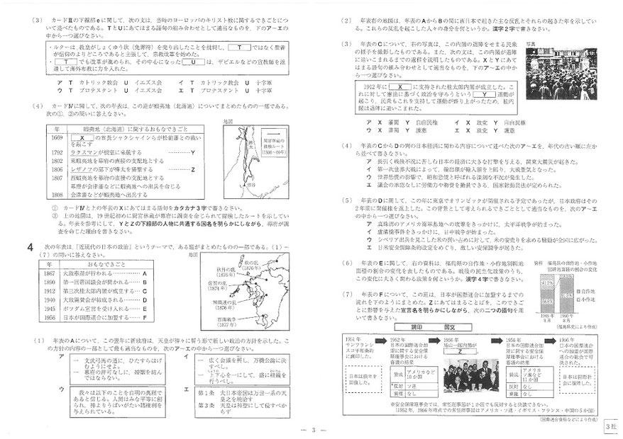 福島県立高校 学力検査問題 社会