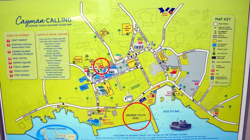 Stadtplan mit Pier und Busdepot (beides eingekreist)