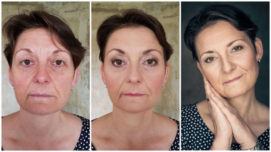 vorher-nachher Make-up-Styling für Fotoshooting - betonte Augen