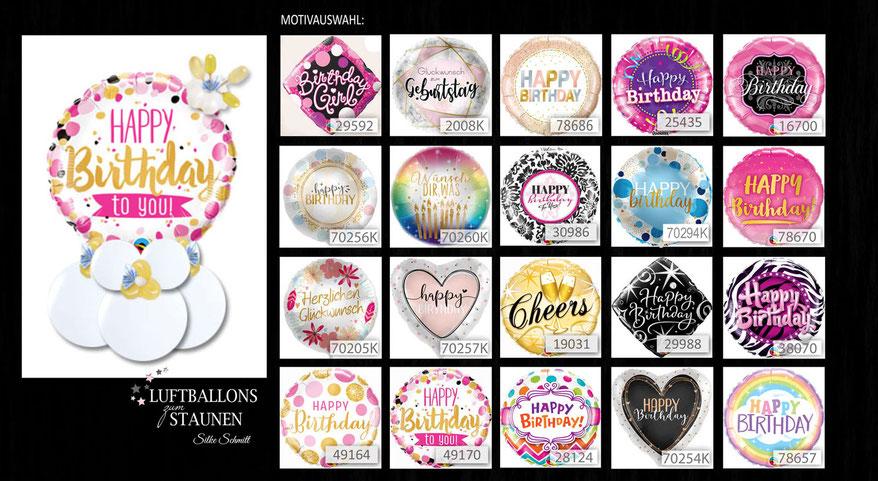 Folienballon Ballon Luftballon Geldgeschenk Geschenkballon Geld Ballongeschenk Happy Birthday to you Geburtstag Ballonpost Ballongruß Versand Box Ballonbox verschicken