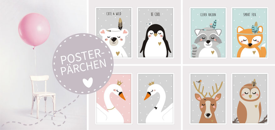little luck | Poster - Pärchen | Kinderzimmer | Dekoration