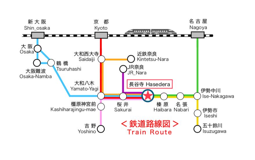 奈良 長谷寺 宿泊 宿 移動 アクセス 路線図 乗換 鉄道 電車 公共 東京 名古屋 京都 大阪 伊勢 ゲストハウス いったん