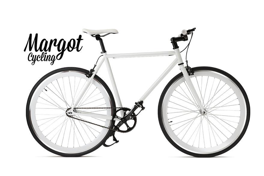 In foto, bici fixed modello SWAN. Bianco dominante con reggisella manubrio, guarnitura e copertoni neri.