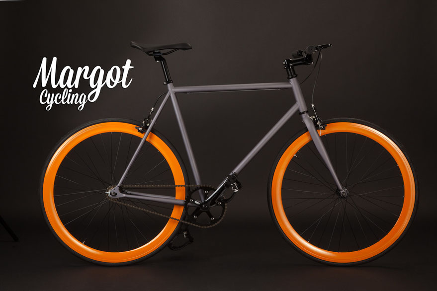 LAMPO fixed bike: gray frame and fork, orange rims, black parts.