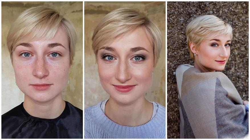 vorher-nachher Make-up-Styling für Fotoshooting - ausdrucksstarker Blick