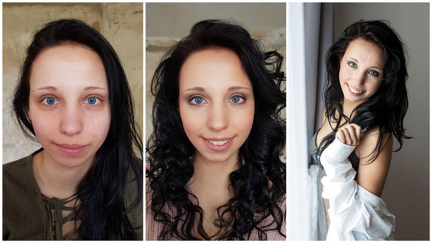 vorher-nachher Make-up-Styling für Fotoshooting - romantischer Look