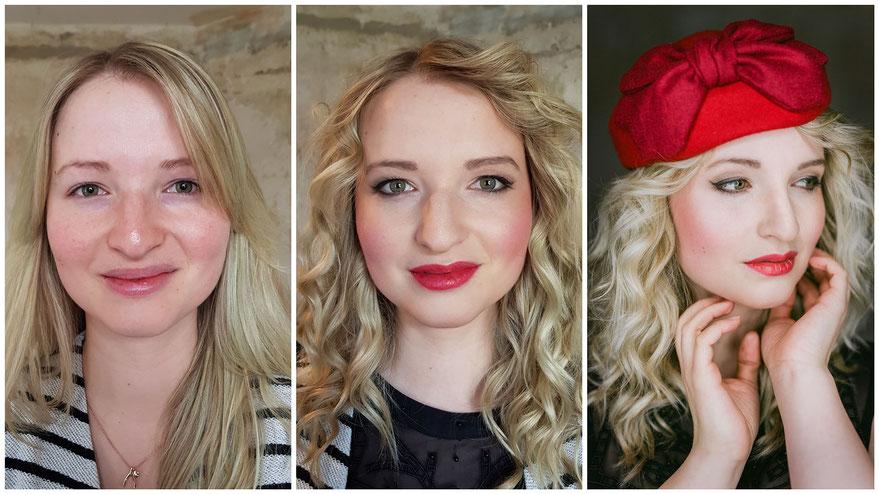 vorher-nachher Make-up-Styling für Fotoshooting - intensive Lippen
