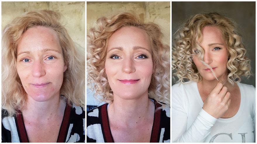 vorher-nachher Make-up-Styling für Fotoshooting - wilde Lockenmähne
