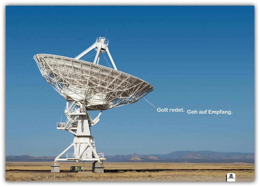 Plakat, Gott redet, Radioteleskop, Very Large Array, Parabolspiegel, Parabolantenne